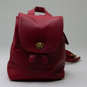 Vintage Coach Red Leather Mini Backpack #9960